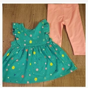 Cat & Jack Matching Sets - **5 for $15** Fruit Pattern Green Blouse w/ pants